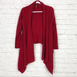 Victor Alfaro M Red LambsWool Waterfall Cardigan